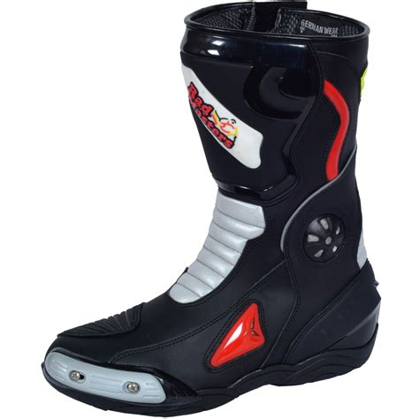 white motorbike boots motorbike racing sport boots colour white black