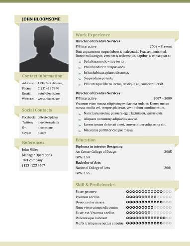 Resume With Picture Template by Resume Template With Picture Fee Schedule Template