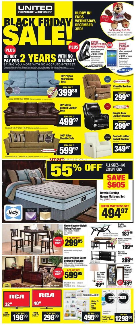 united furniture warehouse black friday flyer 2014