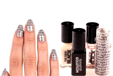 Sephora Nail Designer Top Coat Kutek newsprint nail set by sephora