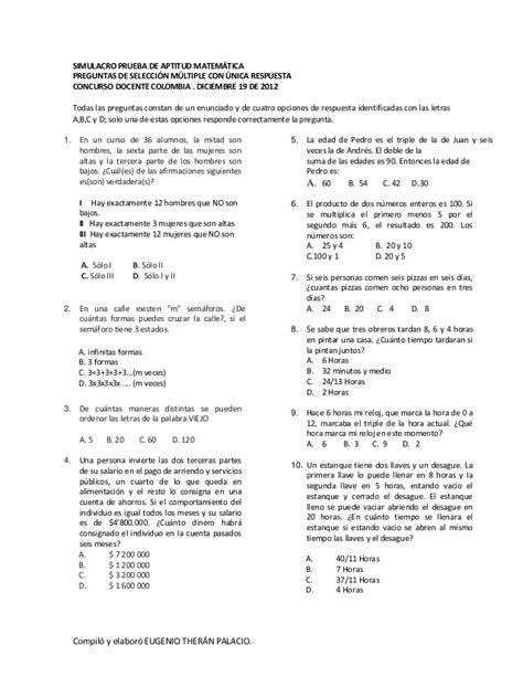 pruebas para docentes 2016 colombia simulacro prueba de aptitud matem 225 tica dic 13 2012