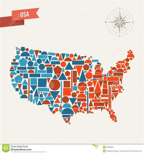 america vector map with states carte d abr 233 g 233 sur des etats unis image libre de droits