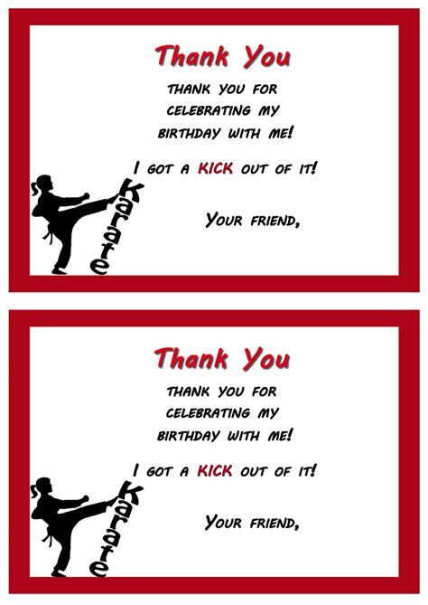printable birthday cards karate karate thank you cards birthday printable