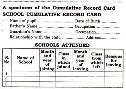 Records Meaning Cumulative Record Card Meaning Need And Other Details With Specimen