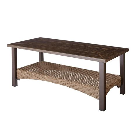 Porch Coffee Table Hton Bay Brown All Weather Wicker Patio Coffee Table 66 20305 The Home Depot