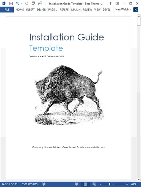 installation guide template ms word instant