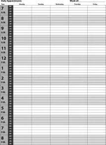 free free download daily appointments schedule template