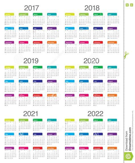 simple calendar template simple calendar template for 2017 to 2022 stock vector