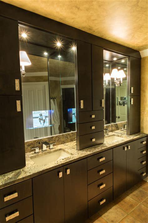 tv behind mirror bathroom master bath with tv behind mirror transitional