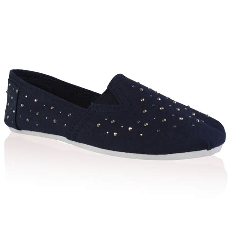 flat navy blue shoes new womens navy blue diamante canvas flat plimsolls