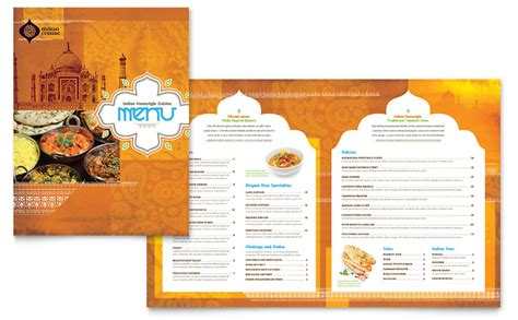 indian restaurant menu template word publisher