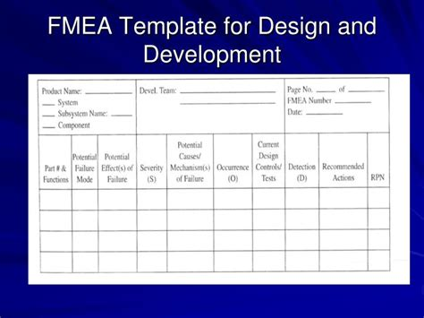 fmea spreadsheet template ppt failure modes and effects analysis fmea r larson
