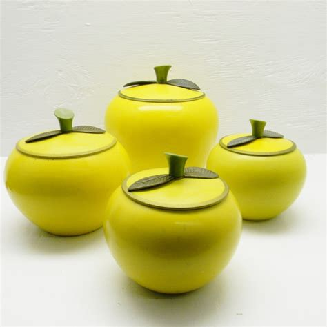 vintage apple canister set vintage apple canisters set of 4 apple shaped aluminum