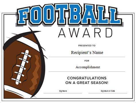 17 Sle Football Certificate Templates To Download Sle Templates Soccer Award Template