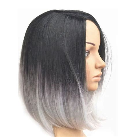 grey hair with with in the front women s ombre grey style short bob synthetic hair lace