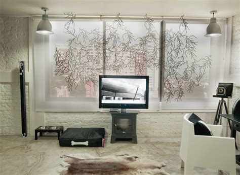 industrial window coverings black white apartment