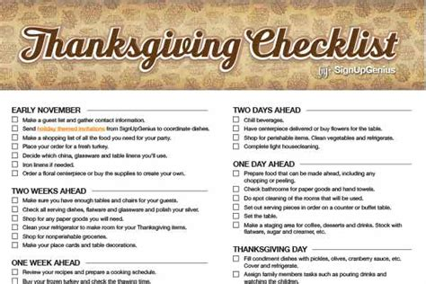 Thanksgiving Checklist Plan A Low Fuss Feast Thanksgiving Checklist Template
