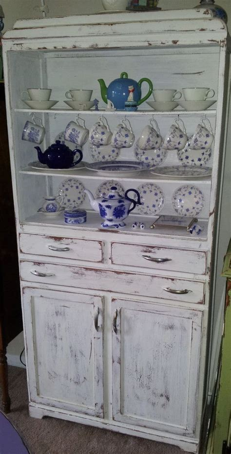 small antique white shabby chic hutch vintage hardware