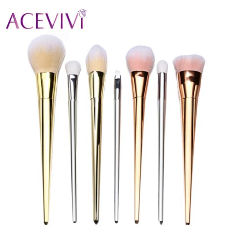 Makeup Brush Rosegold Brushes 7 Pcs 7 pcs professional cosmetic foundation powder brushes makeup brush powder brush gold silver