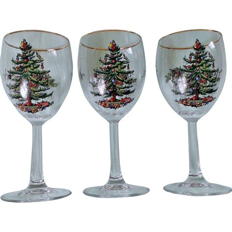 spode christmas tree wine glass set with gold trim from