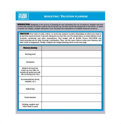 vacation budget spreadsheet template 9 vacation budget template free sle exle format