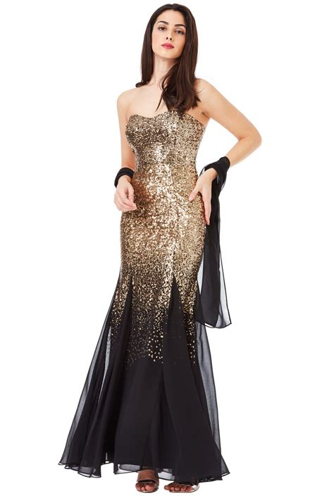 Black Fold Dress by Bandeau Sequin And Chiffon Maxi Dress With Scarf