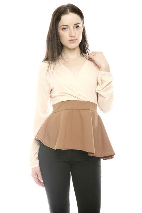 Blouse Twotone two tone vintage peplum blouse shoptiques