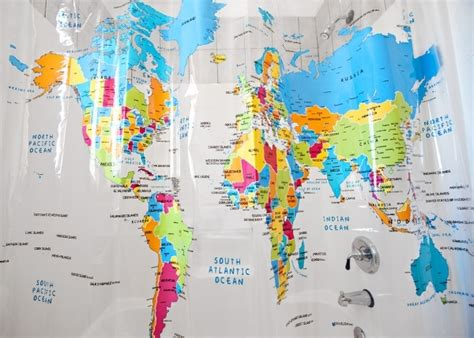 shower curtain map of world world map shower curtain 7 globe inspired home decor to
