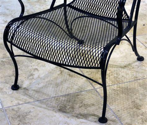 Pair Of Woodard Mid Century Hollywood Regency Wrought Iron Mesh Wrought Iron Patio Furniture
