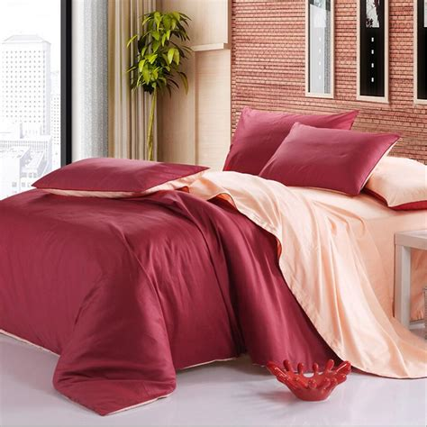 Solid Color Size Quilts 100 Cotton Bedding Set Home Textile 4pcs Solid Color Twill
