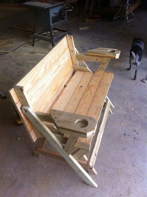fold  picnic table complete  cup holders ellis craftiness pinterest cup holders