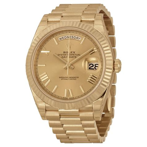 rolex day date 40 chagne 18k yellow gold president