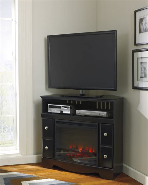 corner tv stand with fireplace decofurnish