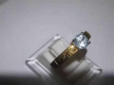 cincin pria permata blue topaz silver etnis ring 8us