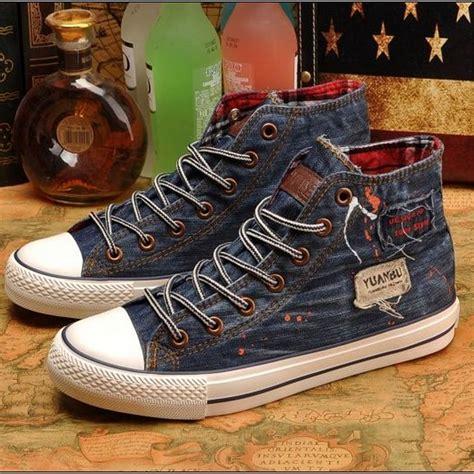 Sepatu Boots Tinggi vintage yang tinggi sepatu kanvas wanita denim sepatu