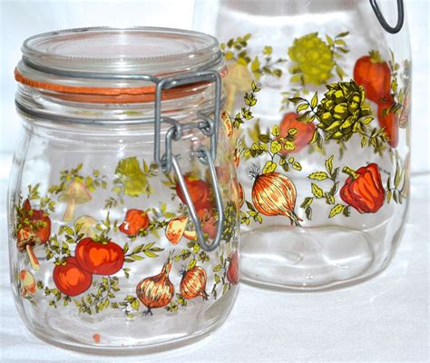 glass kitchen canister set 1970s set of 2 glass kitchen canister jars from