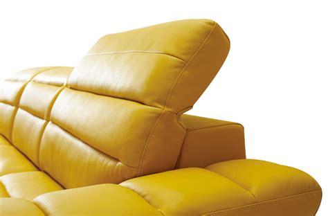 yellow leather sectional divani casa leven modern yellow leather sectional sofa