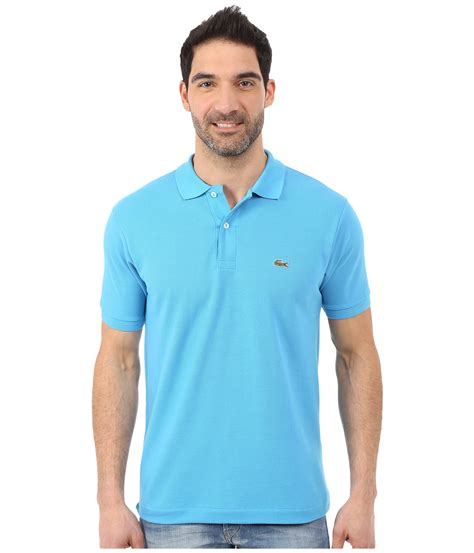 lacoste l1212 classic pique polo shirt in blue for lyst