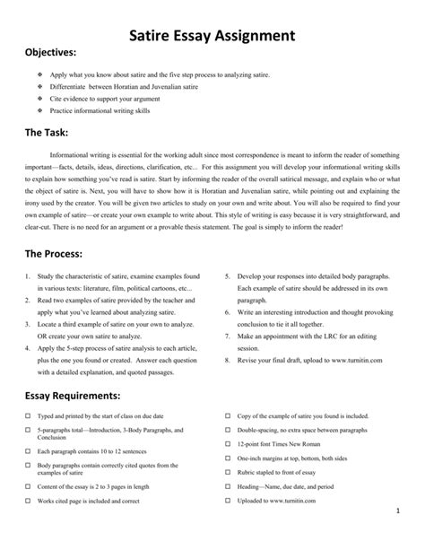 Satirical Essay by Satirical Essay Career Plan Essay