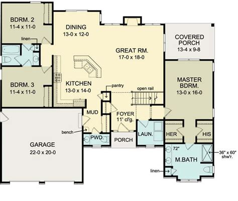 garage basement floor plans first floor plan of ranch house plan 54066 move garage