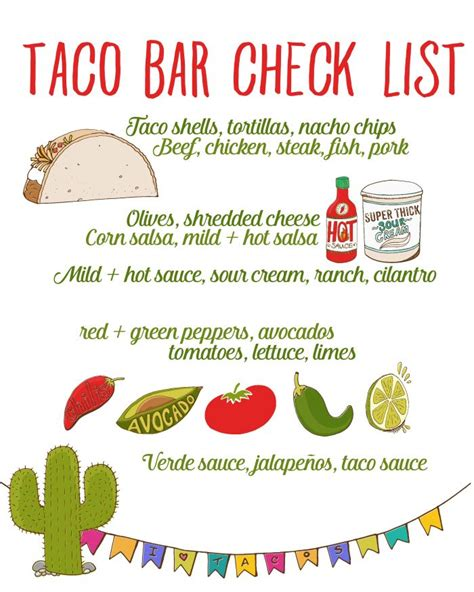 printable bar recipes taco bar party recipe free taco bar checklist tacos