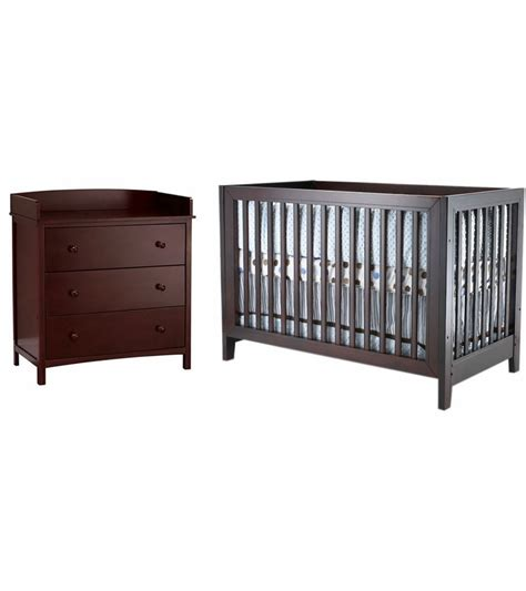 Espresso Nursery Dresser by Sb2 2 Nursery Set In Espresso Crib Simple 3 Drawer Dresser