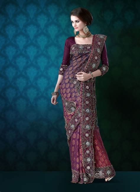 wedding saree draping styles mauve viscose wedding saree with zari indusdiva com
