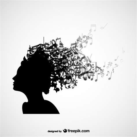 music note head silhouette women head silhouette with music notes in her hair vector