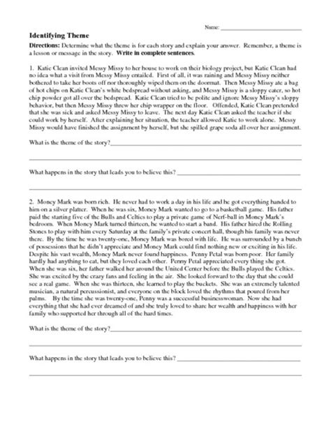 identifying theme in literature youtube theme worksheets for middle school lesupercoin printables