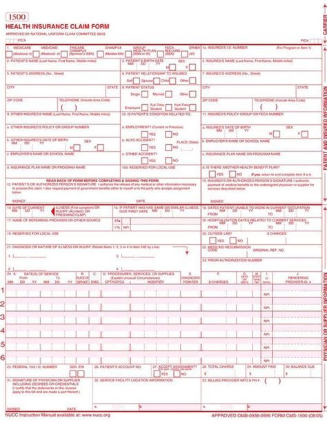 1500 claim form template claim form claim form claim form paperwork and