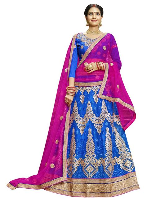 embroidery unstitched design buy blue embroidered net unstitched lehenga with dupatta