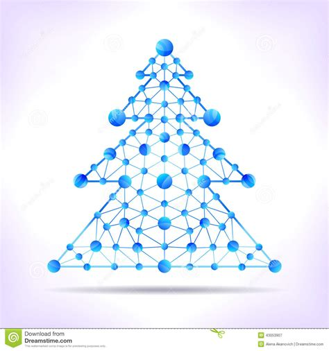 xmas tree structure blue molecule tree stock vector illustration of atom communication 43053907