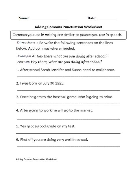 adding commas punctuation worksheet part 1 beginner