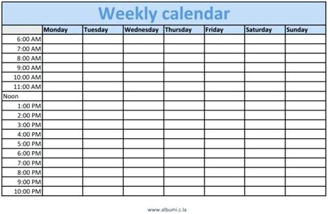 fillable weekly calendar template blank weekly schedule pdf virtuart me